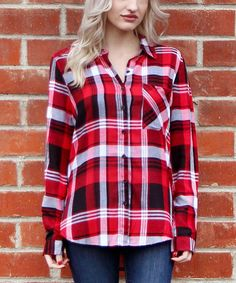Red & White Button-Down Top