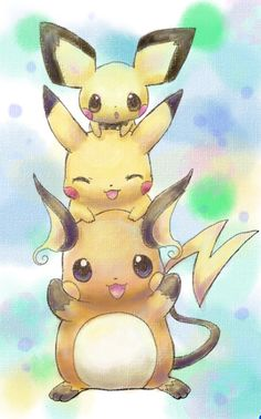 All the Pikachu evolutions! It's so cute! Pikachu is my favorite Pokèmon. Pichu Pikachu Raichu, Mega Pokemon, Pokemon Fan, Pokemon Pikachu Evolution, Images Kawaii, Pokemon Pictures, Anime Kawaii, Digimon, Cute Pictures
