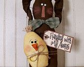 "Primitive Easter Spring ""Hanging with my Peeps"" Rabbit"