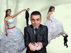 33 of the strangest wedding photographs you are ever likely to see Forced Perspective Photography, Cute Teenage Boys, Funny Couples, Couple Aesthetic, Wedding Photo Inspiration, Prom Dresses, Wedding Dresses, Couple Pictures, Memes