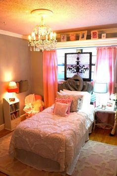 My mother in law created this magical fairytale bedroom for my daughter! Pink, grey, white and sparkles!