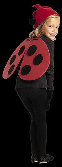 "Ladybug (with pattern), 1/4"" thick red crafting foam, thin black crafting foam, chenille stems and large black pom poms, red hat, black, black gloves, 42"" black shoe strings, 4 eyelets and eyelet punch"