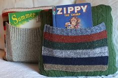Found, now home: Bedtime Story Sweater Pillows