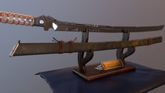 A Sci-fi Katana asset for my final major project. Sword Of The Stranger, Knives And Swords, Katana, New Life, Woodworking Projects, Blade, Weapons, Sci Fi, Guns