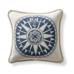 Nautical Compass Cobalt Outdoor Pillow