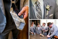 Groom in lavender and gray plaid tie with sweet needlework from bride, gathering with groomsmen over drinks. @myweddingdotcom