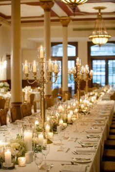 gold candle wedding centerpiece idea; Featured Photographer: The Nichols