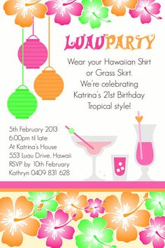 Luau Dance Invitation Wording Google Search Luau Pinterest