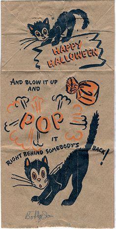 Vintage Halloween paper bag