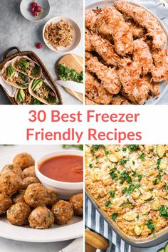 Find over 30 delicious freezer-friendly recipes for breakfast, lunch, and dinner! Packed with wholesome ingredients - so much better than store bought frozen meals! #dinner #mealplanning #freezerfriendly #makeahead