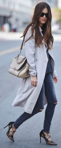Draped trench coat style + distressed denim jeans + strappy stilettos + Paola Alberdi + simplistic but glamorous style Coat: Reiss, Blouse/Jeans: Zara, Pumps: Gianvito Rossi, Bag: Celine.