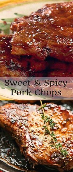 Sweet and Spicy Pork Chops these are fantastic! Poked chops with holes and marinaded for two days. Pork Rib Recipes, Meat Recipes, Cooking Recipes, Pork Meals, Pork Marinade Recipes, Syrian Recipes, Fast Meals, Amish Recipes, Entree Recipes