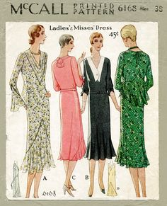 1920s 1930s McCall 6168 vintage sewing pattern flapper day dress bias cut ruffle inserts bust 38 b38 reproduction