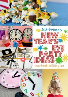 ideas for food, decorations, activities, and more to make your kid-friendly New Years Eve Party a ball! Check out the printable NYE bingo! New Years With Kids, Kids New Years Eve, New Years Party, New Year's Eve Crafts, Holiday Crafts, Holiday Fun, Crafts For Kids, Party Crafts, Winter Holiday