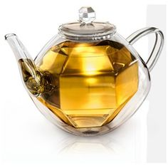 Shop for Creano Double-walled Glass Teapot with Diamond Optic Design. Get free delivery On EVERYTHING* Overstock - Your Online Kitchen & Dining Outlet Store! Vase Deco, Verre Design, Glass Teapot, China Tea Sets, Tea Pot Set, Perfume, Fancy, Diamond Design, Tea Party