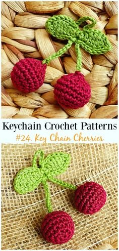 Key Chain Cherries Crochet Free Patterns - could sell these at Cherry festival?Cute and Fun Keychain Crochet Patterns - CrochetCiliegie portachiavi Crochet Pattern gratuiti - # Pattern all&Crochet Easter Chickens Free P Crochet Fruit, Crochet Food, Easter Crochet, Crochet Gifts, Crochet Dolls, Crochet Flowers, Crochet Keychain Pattern, Crochet Motif, Free Crochet