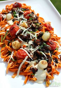 Tomato & Basil Pasta with Alfredo and Grilled Veggies Recipe - perfect for summer!
