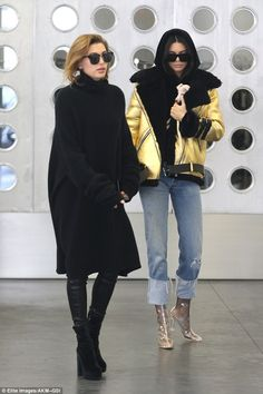 Golden girl:Oozing style in her velvet sweater and belted gold jacket, Kendall was the epitome of style as she strode out rocking the latest trends