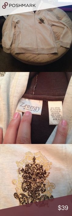 Chico's beige zip up hoodie size Chico's 1 In new condition Zenergy by Chico's beige with brown sequined details zip up hoodie size Chico's 1 sku 724 Chico's Tops Sweatshirts & Hoodies
