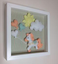 Felt Horse Box Frame- Nursery Decor-Baby Decor- Wall Decor- Box Frame by feltncuddles on Etsy