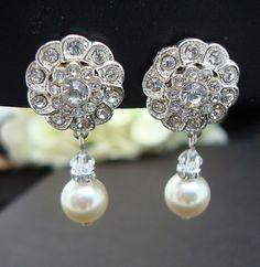 Bridal Earrings,Ivory or White Pearls,Bridal Rhinestone Earrings,Clip-on Earrings,Pearl Bridal Earrings,Wedding Pearl Earrings,STEPHANIE