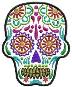Sugar Skull - Day of the Dead - Machine embroidery in 3 sizes.