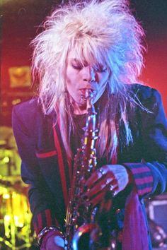 A saxophone-playing Michael Monroe of Hanoi Rocks (photo: Dave Melnychuk)