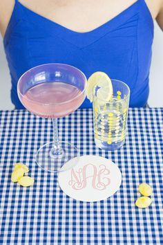 blue gingham, pink lemonade, personalized monogram, lemons Personalized Coasters, Custom Coasters, Blue Gingham, Good Ole, Pink Lemonade, Foil Stamping, Chipboard, Design Show, Ink Color