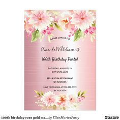 Shop Sweet birthday coral dahlia florals rose gold invitation created by EllenMariesParty. 90th Birthday Parties, Sweet 16 Birthday, 16th Birthday, Gold Invitations, Elegant Invitations, Birthday Invitations, Birthday Roses, Rose Gold Pink, Florals