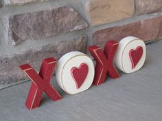 XOXO BLOCKS for valentines shelf desk mantle and home by lisabees, $12.50