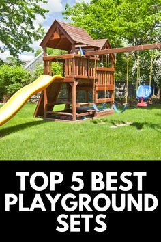 Having a playground set is every kid's dream, and in this article, we provide a complete review and buying guide of the top 5 best backyard playground sets! Read more at OwnTheYard.com! Backyard Playground Sets, Outdoor Play Areas, House Styles, Kids, Top, Design, Young Children, Boys