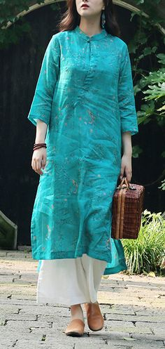 Art green print linen clothes For Women Organic Catwalk stand collar side open daily Summer Dresses Kurta Designs Women, Kurti Neck Designs, Blouse Designs, Ellie Saab, Womens Linen Clothing, Casual Summer Dresses, Summer Outfits, Linen Summer Dresses, Dress Summer