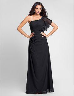 2016 Long Cheap Custom Made Bridesmaid Dresses Black Chiffon Short Sleeves One Shoulder Plus Sizes Wedding Party Dress