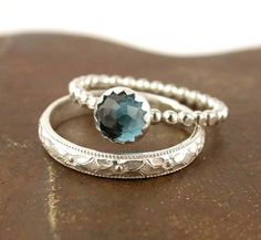 Edelstein Stapeln Ring Set - 2 Ringe - Sterling Silber - London Blue Topaz