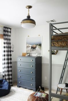 Rustic Boys Tween Room Makeover-With Loft Bed, Couch