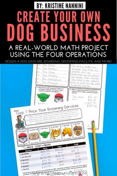 Create Your Own Dog Business Math Project - Young Teacher Love 5th Grade Classroom, Middle School Classroom, Third Grade Math, Math Help, Fun Math, Consumer Math, Real Life Math, Early Years Maths, Infant Lesson Plans