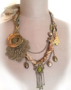 Fabric necklace,shabby chic soft braided necklace from antique handmade lace trims, silk 100%, beads crystal.Boho romantique ctyle necklace