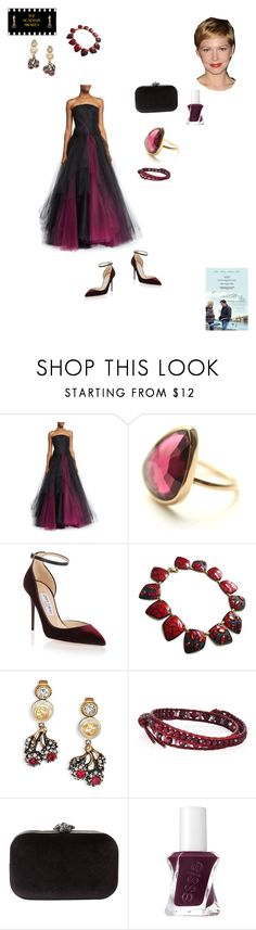 """Michelle Williams of ""Manchester by the Sea"" 89th Academy Awards"" by ejmfashionista ❤ liked on Polyvore featuring Oscar de la Renta, Jimmy Choo, Gucci, Chan Luu, Phase Eight and Essie"