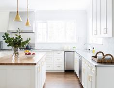 white cabinets brass accents - Google Search