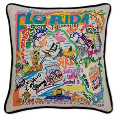 Hand-embroidered pillows of California, New York, Pennsylvania and all 50 US states. Illustrated with highlights of cultural sites and cities.