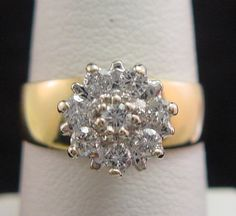 Wide Band Diamond Ring 1/2ct+ Total Round 8 Diamond Cluster Solid 14K Gold