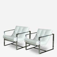 Pair of Milo Baughman Chrome & White Leather Cube Chairs by Milo  Baughman