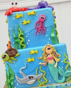 Mermaid and Sea Animal Party Cake by Beverly's Bakery