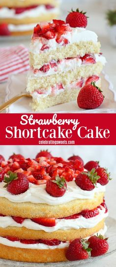 Strawberry Shortcake Cake - A fluffy vanilla sponge cake filled with layers of whipped cream frosting and juicy strawberries. Strawberry Shortcake Cake - A fluffy vanilla sponge cake filled with layers of whipped cream frosting and juicy strawberries. Strawberry Shortcake Recipes, Strawberry Cake Recipes, Strawberry Whipped Cream Cake, Strawberry Shortcake Birthday Cake, Strawberry Sweets, Homemade Strawberry Cake, Vanilla Cake With Strawberries, Strawberry Sauce, Vanilla Cake With Strawberry Filling Recipe