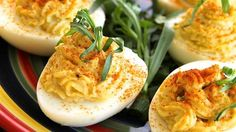 No holiday meal is complete without deviled eggs. Tarragon and spicy horseradish add a festive note to the classic.