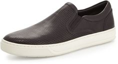 Vince Perforated Leather Skater Sneaker, Black
