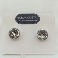 Classic Stud Earrings with Swarovski crystals. Brand new studs. Crystal: clear Swarovski Crystal. Material: Brass. Coating: Rhodium plated. Borun Crystal Jewelry Earrings