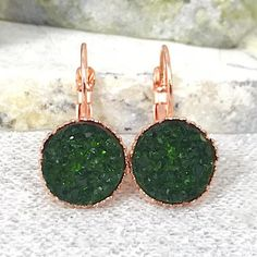 Bridesmaid Earrings  Juniper Green Druzy Drop Earrings  | Etsy