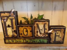 Home Wood Block Sign by ktuschel on Etsy, $20.00