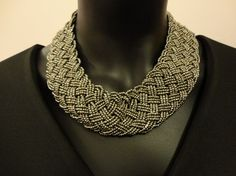 Handwoven gray color beads necklace by OMyGlam on Etsy